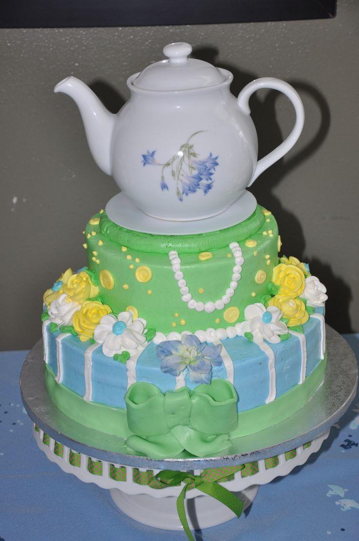 publix cake with flea market tea pot tea party baby shower