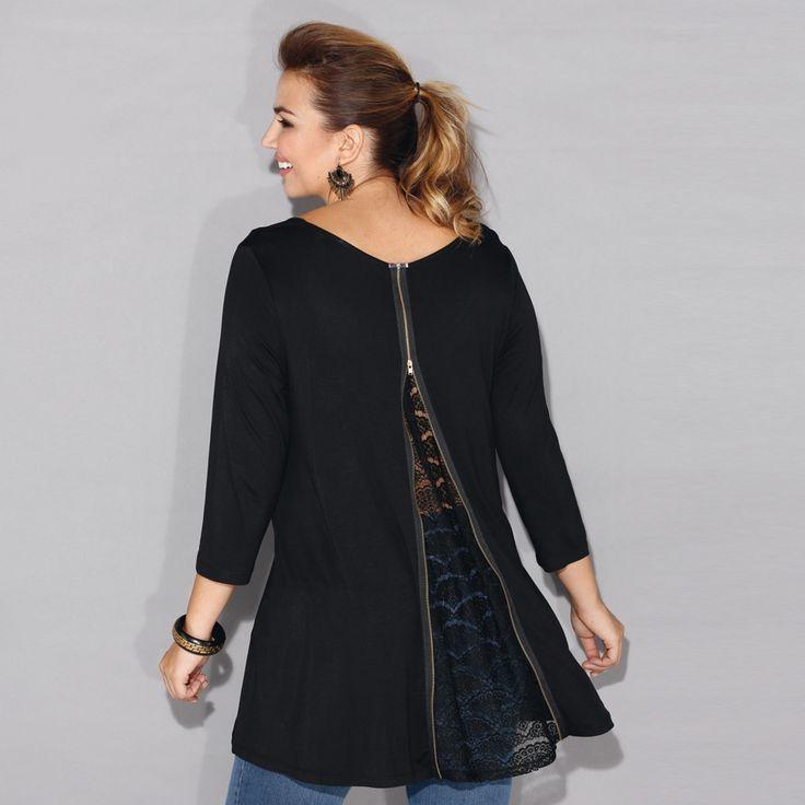 Tee-shirt grande taille Blancheporte : on craque pour son dos zippé et sa coupe ample.