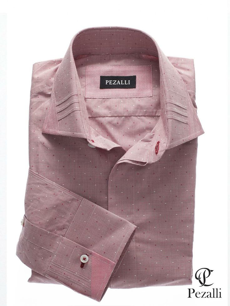 100% Egyptian Cotton shirt in white and dark red micro checks. Designer collar and cuff with contrast button hole stitch.