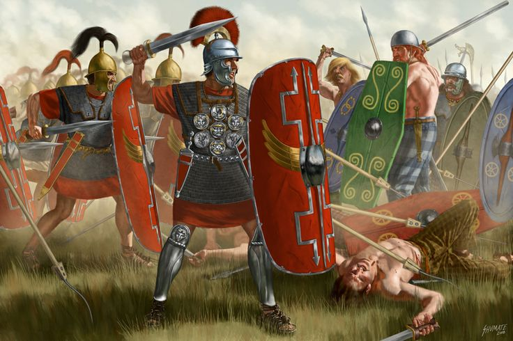 Gallic Wars, 58-51 BCE, artwork by J. Shumate