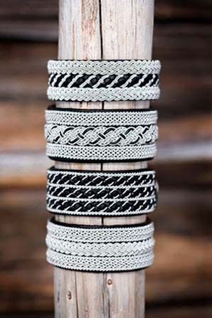 My favorite bracelets, braided pewter thread on reindeer hide