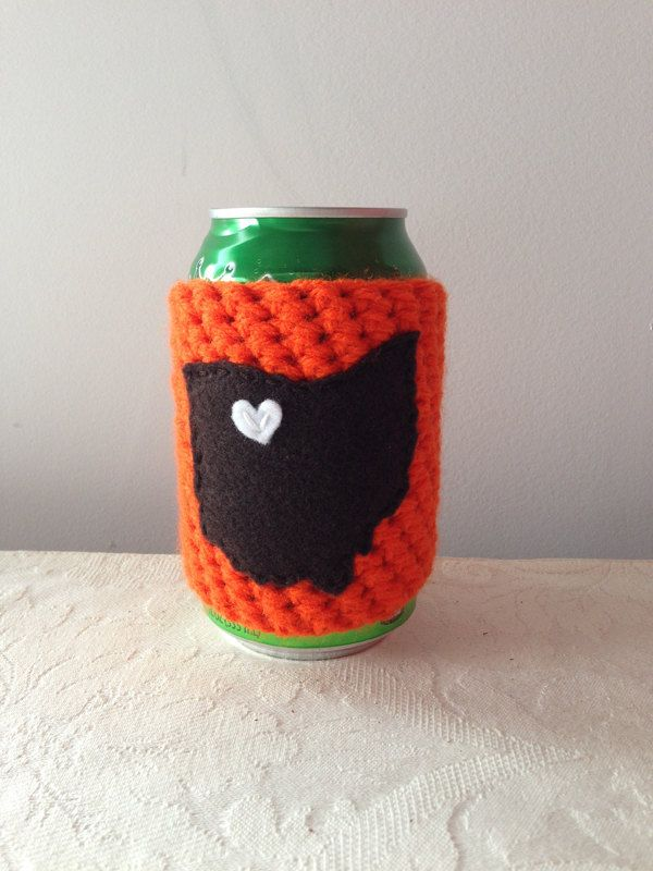 Bowling Green State University, Bowling Green Falcons   Bowling Green, Ohio Crochet Beer Coozie in Orange, Coffee Cup Cozy, Bottle Coozie by Maroozi on Etsy