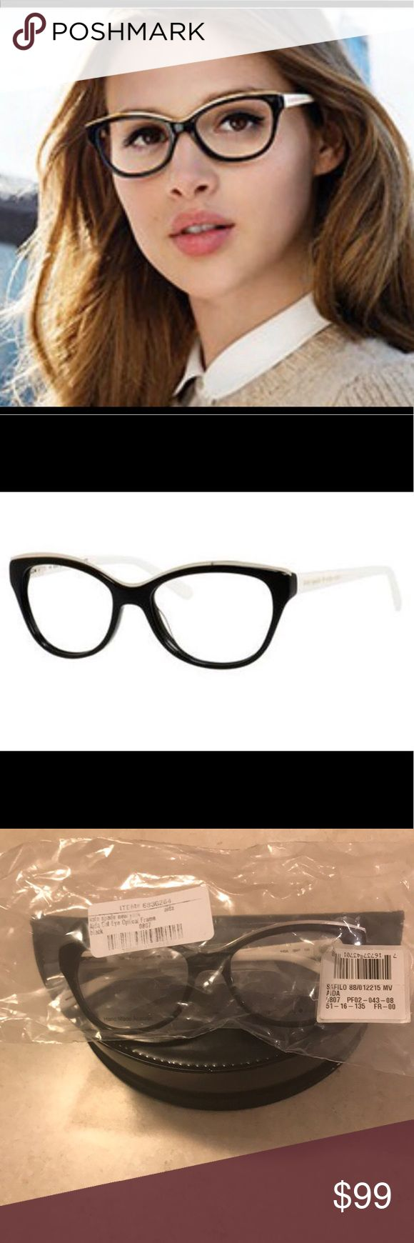 Kate Spade NEW Aida Cat Eye Black & White Frames Kate Spade AIDA is a wonderful choice from the Kate Spade Eyeglasses line. They are a full plastic frame semi-cat style that has a silver metal accent along the top. The front is black and sides are white. These are eligible for prescription lens installation. They are new never worn, I was going to have glasses made and just kept my old frames, so they have demo lenses in them. I do not have the case. Kate Spade Accessories Glasses