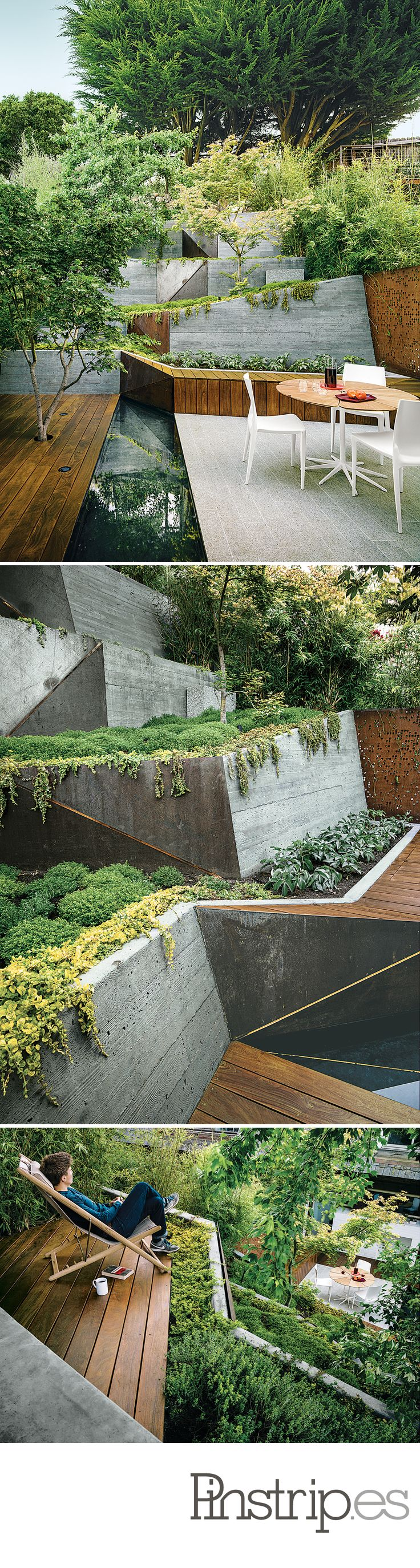 Japanese-inspired landscape design San Francisco. rails, we don't need rails around a deck.