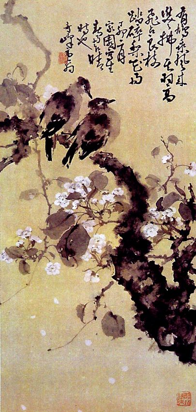 Birds, blossoming tree - by Gao Qifeng (1889-1933), China. Lingnan School.