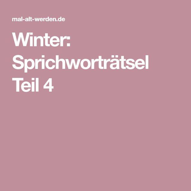 Winter: Sprichworträtsel Teil 4