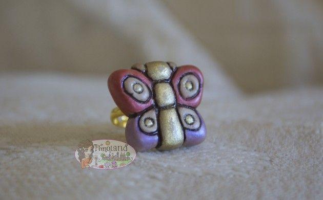 Anello con farfalla effetto thun. Polymer Clay.  Handmade