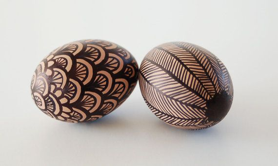 Easter Eggs, Set of 2 - Ceramic - Hand-painted in Brown and Black - Decorative Egg - Egg Home Decor