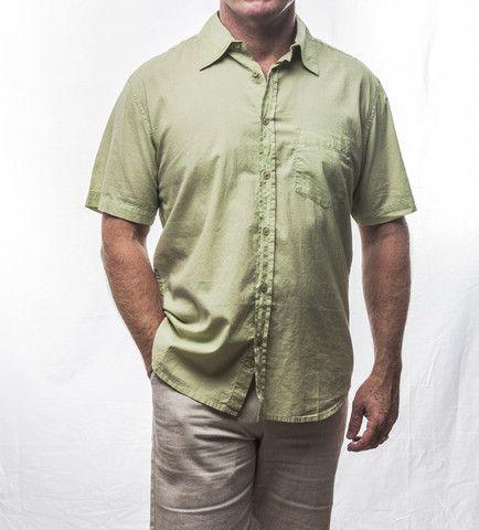 Light Green Short Sleeve Cotton Shirt