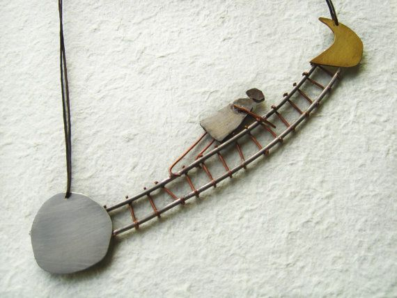 Moon necklace  Asymmetrical necklace  Statement by PikipokaJewelry
