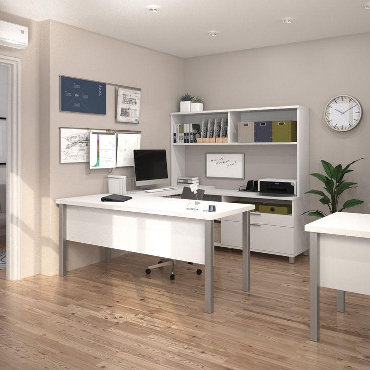 Bestar Pro-Linea U-Shaped Desk with Hutch | from hayneedle.com