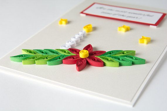 Elegant Quilled Christmas Greeting Card Unique Handmade Xmas Gift Quilling by PaperParadisePL