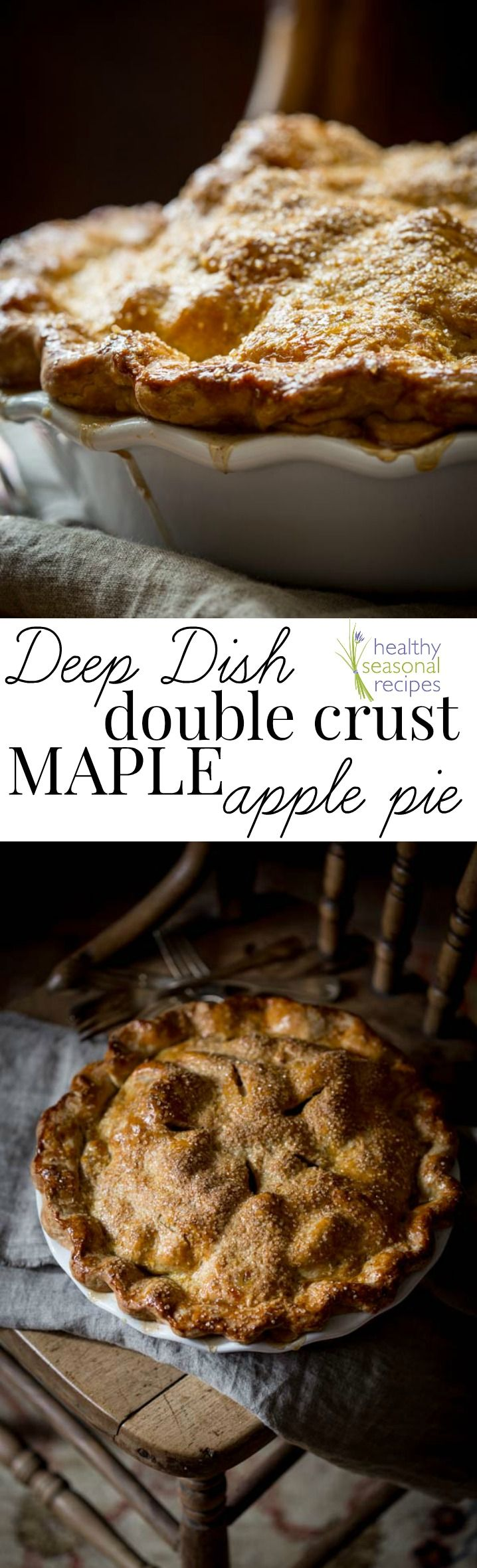 Blog post at Healthy Seasonal Recipes : This deep dish, double crust maple apple pie is a classic fall dessert that is hard to beat. If you love apple pie, and you plan to make one[..]