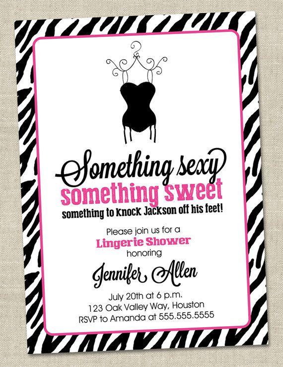 Zebra pink lingerie shower invitation pink by miragreetings 1400 ohlala pinterest for Lingerie bridal shower invitations