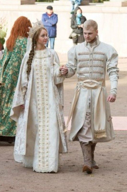 A bride and a groom in old Russian style.