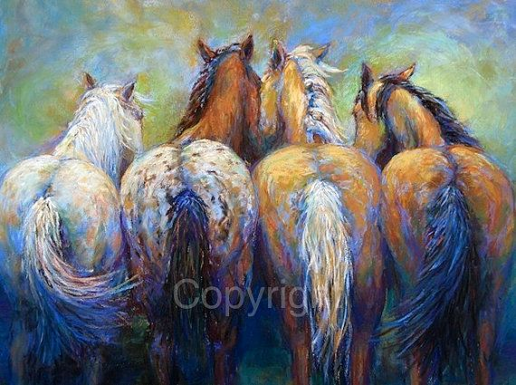 Horse fine art giclee, Horse decor, western decor  Tails To Tell Giclee Reproduction in a limited numbered series  Horses hanging out together