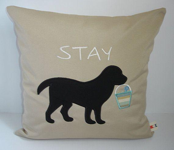 Sunbrella Pillow Black Lab Applique 16 x 16 Pillow, Stay Labrador Canvas Pillow Cover, Beach Decor, Decorative Pillow, Indoor/Outdoor Pillow on Etsy, $40.00