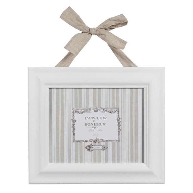 Cornice fotografica bianca rettangolare con fiocco in lino