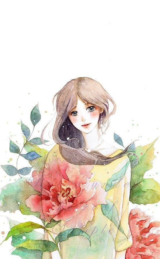 水彩 萌 Q版 二次元 女孩 插画 动漫...@咯小调采集到绘画(68图)_花瓣插画/漫画