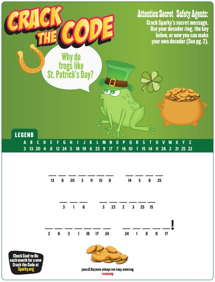 Crack the Code with Sparky to find out why frogs like St. Patrick's Day!