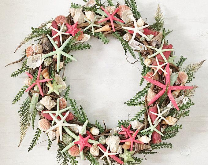 "18"" Beach Wreath, Coastal Wreath, Seashell Wreath Starfish Wreath Beach Decor Coastal Decor Shell Wreath Coastal Valentine Wreath Red Wreath"