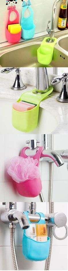 US$3.35 Three Colors Kitchen Bathroom Hang Basket Wall Pocket Storage Bag Hanger