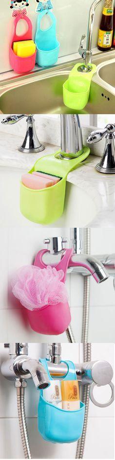 US$3.35 Three Colors Kitchen Bathroom Hang Basket Wall Pocket Storage Bag Hanger