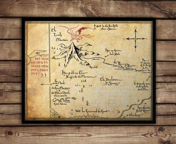 Herr Der Ringe Karte Poster Drucken Mittlere Erde Karte