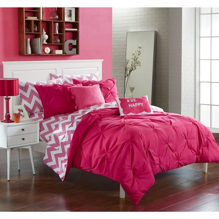 NEW Twin XL Full Bed Pink White Pinch Pleat Chevron 9pc Comforter Sheets Set NWT | eBay