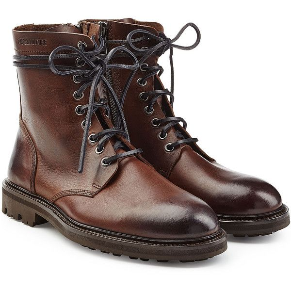 Zadig & Voltaire Leather Ankle Boots ($479) ❤ liked on Polyvore featuring men's fashion, men's shoes, men's boots, brown, mens zipper boots, mens slip on shoes, mens leather ankle boots, mens lace up boots and mens brown leather shoes