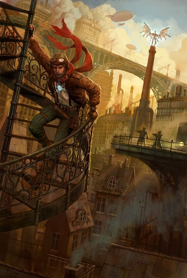 That's Victorian London looked at, so what would a Steampunk London look like? This links to a nice collection of steampunk art.