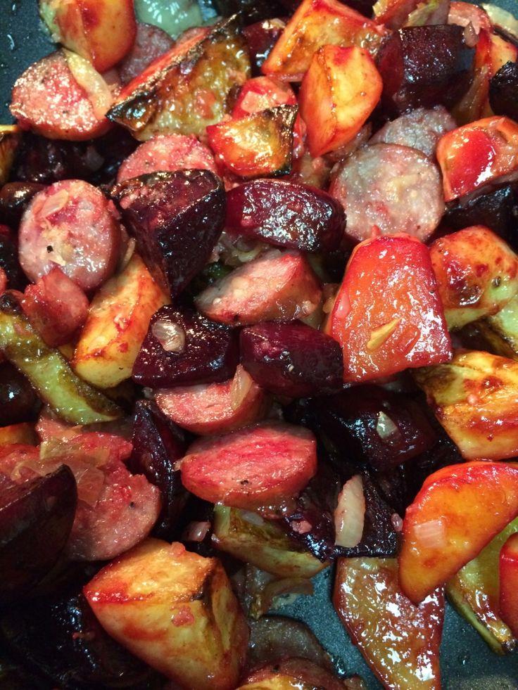 Super tasty recipe for Autumn Roasted Vegetable and Chorizo Feast with Feta (GF) Yum!