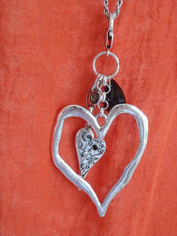Heart in a heart long necklace with onyx coloured gem