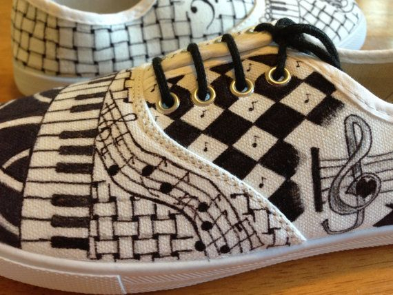 custom zentangled black and white shoes sneakers by