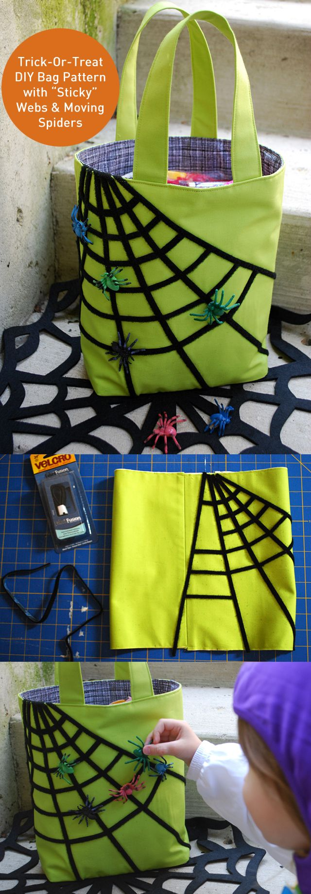"Fun DIY Trick Or Treat bag! Cut thin strips of Velcro fasteners to make ""sticky"" webs and spiders kids can move around while they trick-or-treat for Halloween"