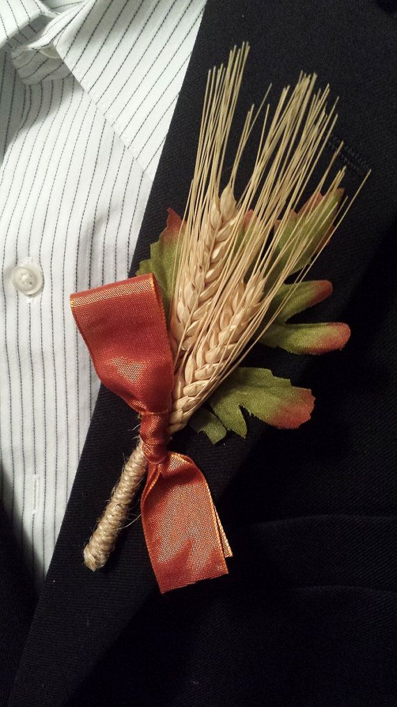 Rustic Fall Wedding Boutonniere (Boutineer) -Wheat with Burnt Orange Ribbon - 15% off - Code: PIN15