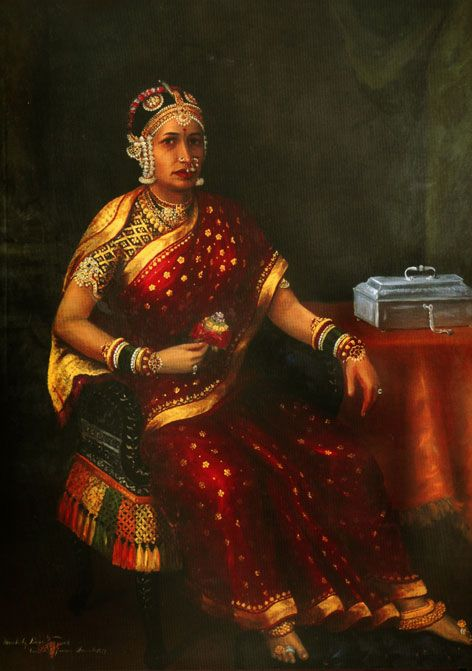 HH Subbamma Bai Sahib Subbamma Bai, second–wife of HH Raja Ramachandra Thondaiman, in her richly brocaded silk sari and breathtaking jewels. It has been 'officially catalogued' that her jewels were one of the reasons for the debts that her husband had accrued over the years!