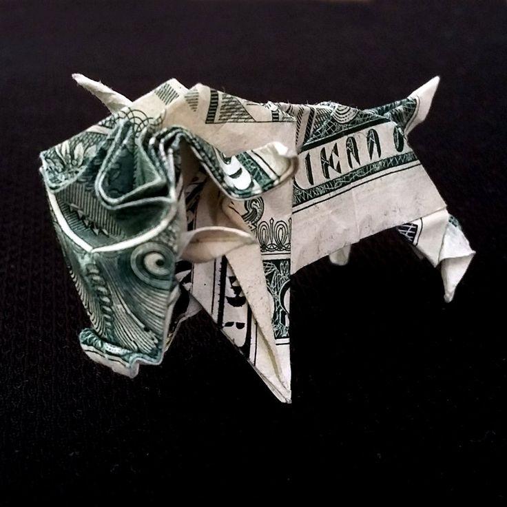 Real One Dollar Bill Origami Miniature BULL 3D Sculpture Money Zodiac Taurus Sign Handmade Mini Ox Figurine Horoscope Art Animal Art Buffalo