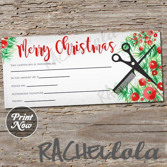 printable christmas hair salon gift certificate template