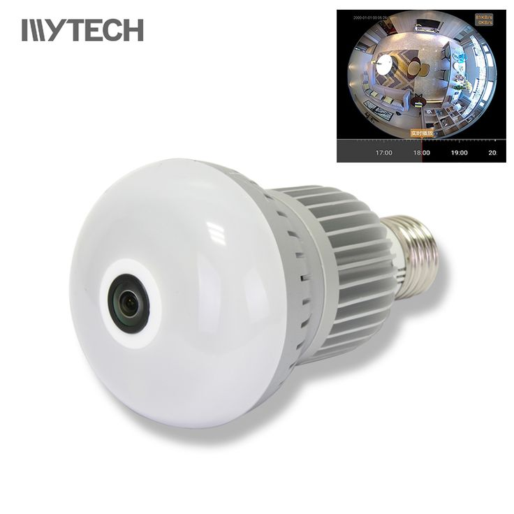 Security protection 4613 pinterest 960p bulb light 360 degree wifi camera 14mm fisheye panorama indoor security ip camera two mozeypictures Gallery