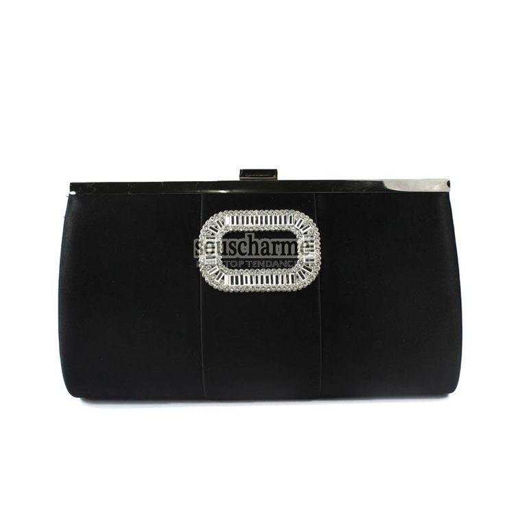 Pochette soirée noire en velour rehaussé de broche strass forme O pochette portefeuille femme pas cher