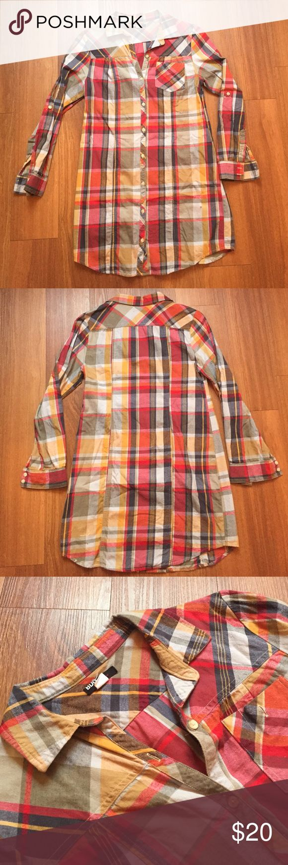 Shirt Dress❤Gorgeous plaid cotton flannel! Gorgeous plaid cotton flannel shirt dress. Hits mid thigh. Looks great with riding or cowboy boots! Comfy, high quality, and so many compliments! Make me an offer. Urban Outfitters Dresses Long Sleeve