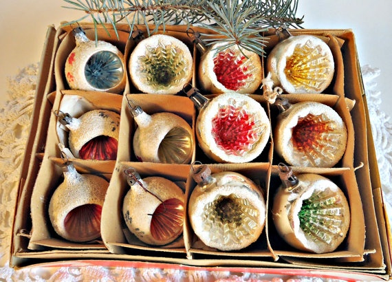 12 Vintage Mica Glass Christmas Ornaments  by treasurecoveally, $42.00