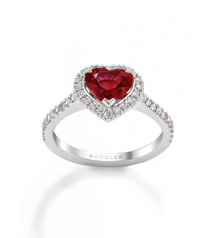 Vintage Heart Ruby And Diamond Ring Heart Shaped Ruby