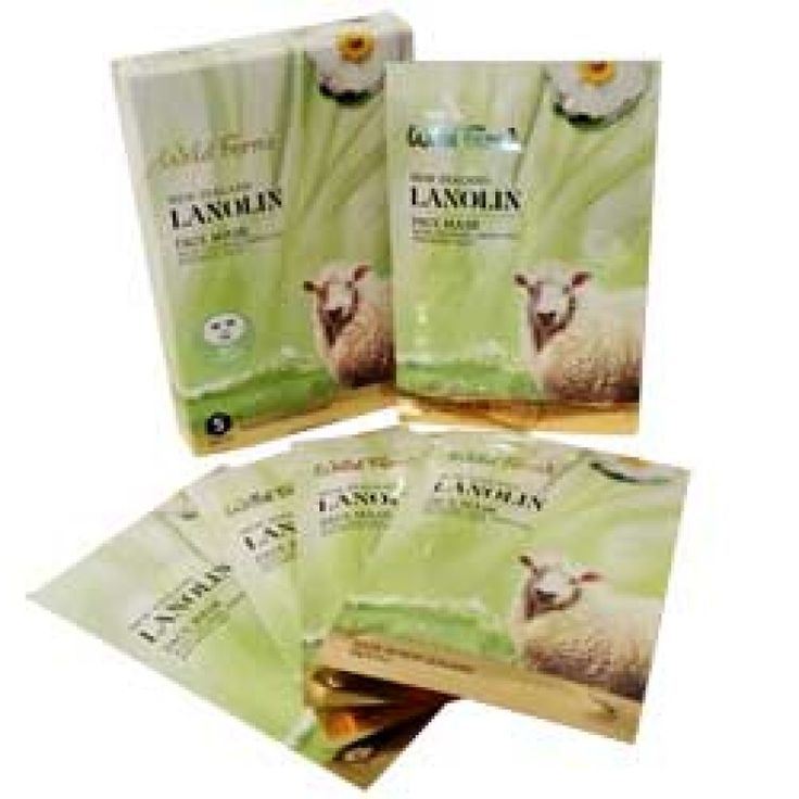 Wild Ferns New Zealand Lanolin Face Mask With Collagen Green Tea and Royal Jelly 5 Pack