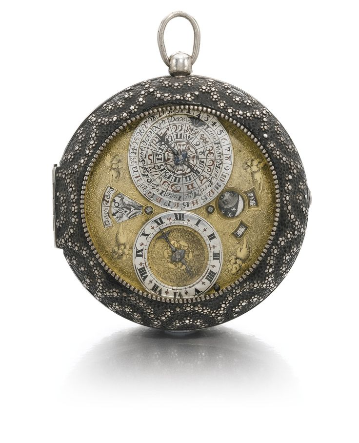Benjamin Hill, London       A LEATHER SILVER AND PIQUE PRE-BALANCE SPRING VERGE ASTRONOMICAL WATCH  1650