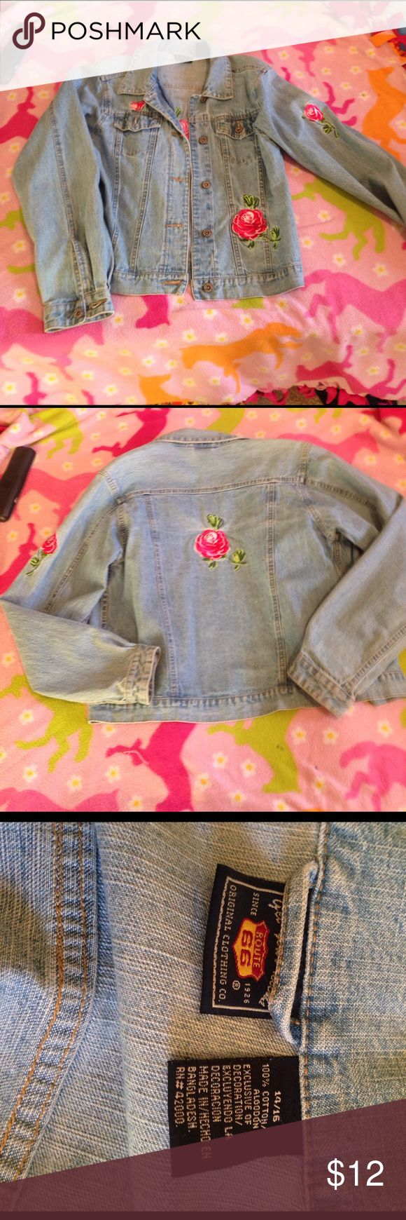 Lady's denim jacket size 14/15 , XL Route 66! Great condition and 100% as it says on the tag. 14/15, or XL. Very good condition but I just don't wear it and im getting rid of stuff taking up my closet! It could probably fit as a large too! It has a rise on one sleeve, the back, and above the pocket! Route 66 Tops