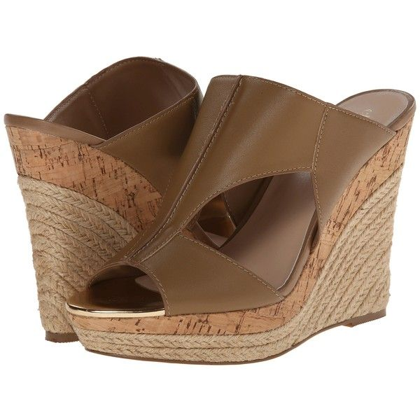 Charles by Charles David Abacus (Nude Leather) Women's Wedge Shoes ($55) ❤ liked on Polyvore featuring shoes, sandals, pink, platform sandals, leather platform sandals, pink high heel sandals, nude sandals and pink wedge sandals