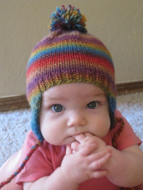 Knitting Pattern For Infant Hat With Ear Flaps : Ravelry: FREE BABEE CHULLO (Baby Earflap Hat) pattern by Bobbi Padgett Knit...