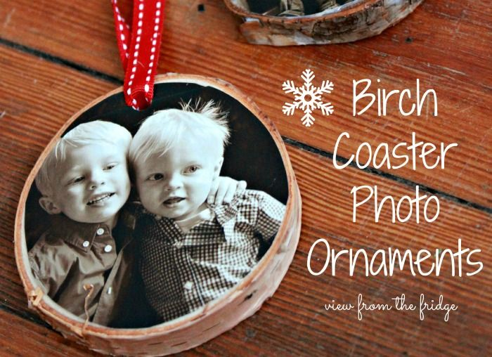 Great DIY Holiday Project ... Birch Coaster Photo Ornaments! Easy to follow tutorial from View From The Fridge